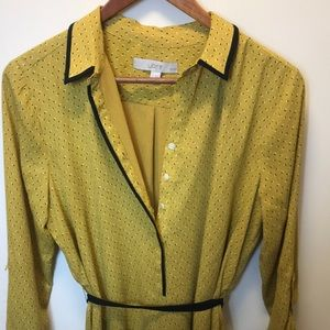 Loft Mustard Yellow Flowy blouse